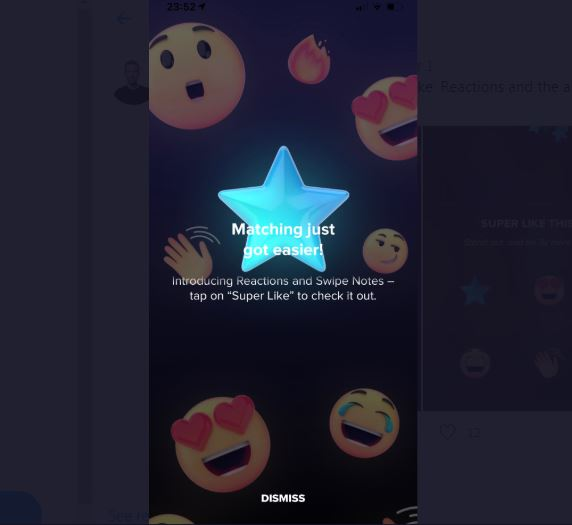 The Tinder Super Like Reactions allow users to show more or less love on photos.