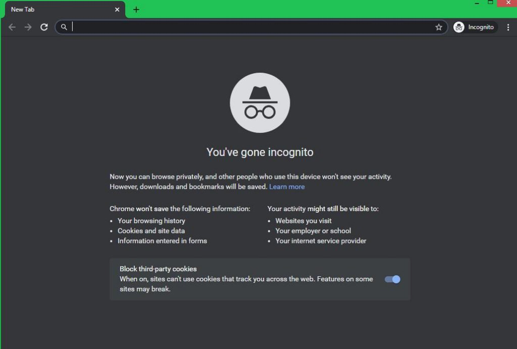 An Incognito window on Google Chrome helps mask your location and prevent tracking.