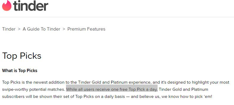 The Tinder Platinum has several advantages that help you in fully utilizing your Top Picks.