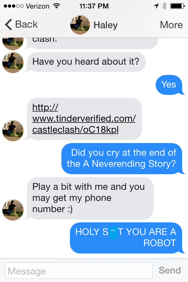 Tinder bot messages just get you confused in the middle.