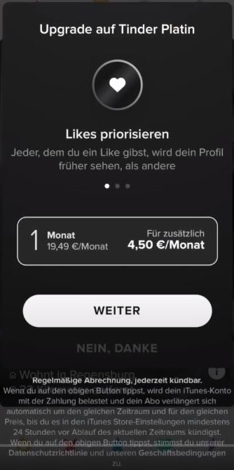 Germany Tinder Platinum Price